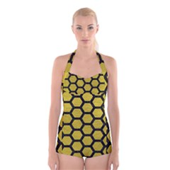 Hexagon2 Black Marble & Yellow Leather Boyleg Halter Swimsuit  by trendistuff