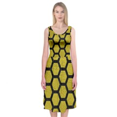 Hexagon2 Black Marble & Yellow Leather Midi Sleeveless Dress by trendistuff