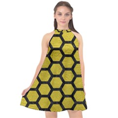 Hexagon2 Black Marble & Yellow Leather Halter Neckline Chiffon Dress  by trendistuff