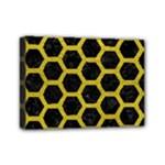 HEXAGON2 BLACK MARBLE & YELLOW LEATHER (R) Mini Canvas 7  x 5