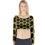 HEXAGON2 BLACK MARBLE & YELLOW LEATHER (R) Long Sleeve Crop Top