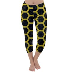 Hexagon2 Black Marble & Yellow Leather (r) Capri Winter Leggings  by trendistuff