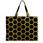 HEXAGON2 BLACK MARBLE & YELLOW LEATHER (R) Zipper Mini Tote Bag