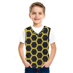 Hexagon2 Black Marble & Yellow Leather (r) Kids  Sportswear by trendistuff