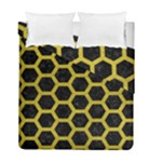 HEXAGON2 BLACK MARBLE & YELLOW LEATHER (R) Duvet Cover Double Side (Full/ Double Size)