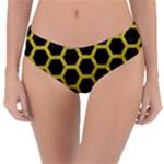 HEXAGON2 BLACK MARBLE & YELLOW LEATHER (R) Reversible Classic Bikini Bottoms