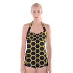 HEXAGON2 BLACK MARBLE & YELLOW LEATHER (R) Boyleg Halter Swimsuit