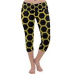 HEXAGON2 BLACK MARBLE & YELLOW LEATHER (R) Capri Yoga Leggings