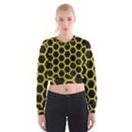 HEXAGON2 BLACK MARBLE & YELLOW LEATHER (R) Cropped Sweatshirt