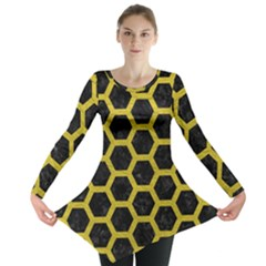 Hexagon2 Black Marble & Yellow Leather (r) Long Sleeve Tunic  by trendistuff