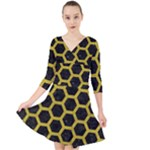 HEXAGON2 BLACK MARBLE & YELLOW LEATHER (R) Quarter Sleeve Front Wrap Dress