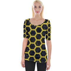 Hexagon2 Black Marble & Yellow Leather (r) Wide Neckline Tee by trendistuff