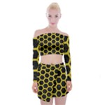 HEXAGON2 BLACK MARBLE & YELLOW LEATHER (R) Off Shoulder Top with Mini Skirt Set