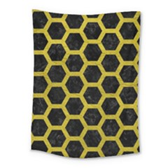 Hexagon2 Black Marble & Yellow Leather (r) Medium Tapestry by trendistuff