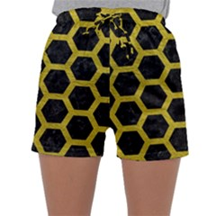 Hexagon2 Black Marble & Yellow Leather (r) Sleepwear Shorts by trendistuff