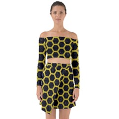 Hexagon2 Black Marble & Yellow Leather (r) Off Shoulder Top With Skirt Set by trendistuff