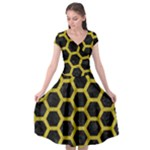 HEXAGON2 BLACK MARBLE & YELLOW LEATHER (R) Cap Sleeve Wrap Front Dress