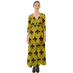 Royal1 Black Marble & Yellow Leather (r) Button Up Boho Maxi Dress