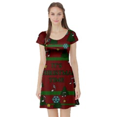 Ugly Christmas Sweater Short Sleeve Skater Dress