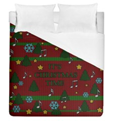 Ugly Christmas Sweater Duvet Cover (queen Size) by Valentinaart