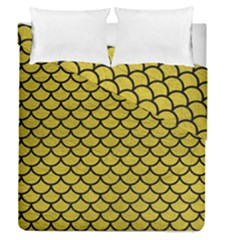 Scales1 Black Marble & Yellow Leather Duvet Cover Double Side (queen Size) by trendistuff