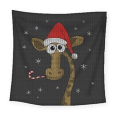 Christmas Giraffe  Square Tapestry (large) by Valentinaart