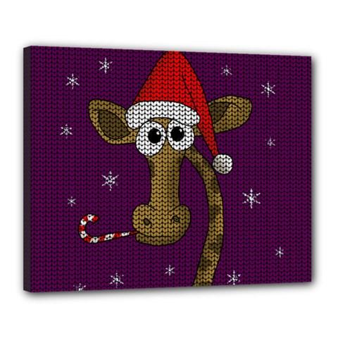 Christmas Giraffe  Canvas 20  X 16  by Valentinaart