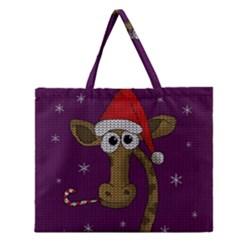 Christmas Giraffe  Zipper Large Tote Bag