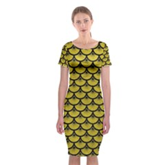 Scales3 Black Marble & Yellow Leather Classic Short Sleeve Midi Dress