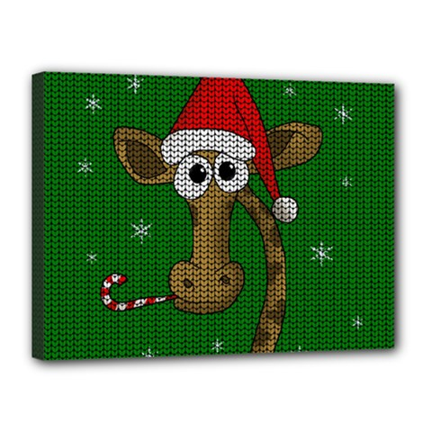 Christmas Giraffe  Canvas 16  X 12  by Valentinaart