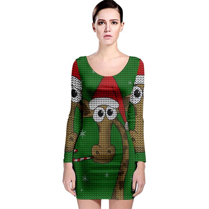 Christmas Giraffe  Long Sleeve Bodycon Dress