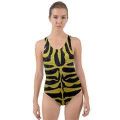 Skin2 Black Marble & Yellow Leather (r) Cut Out Back One Piece Swimsuit by trendistuff