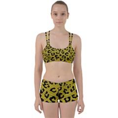 Skin5 Black Marble & Yellow Leather (r) Women s Sports Set