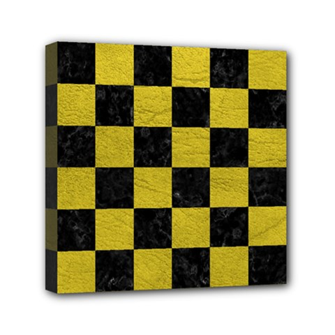 Square1 Black Marble & Yellow Leather Mini Canvas 6  X 6  by trendistuff
