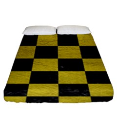 Square1 Black Marble & Yellow Leather Fitted Sheet (king Size)
