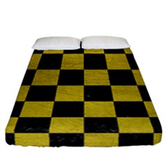 Square1 Black Marble & Yellow Leather Fitted Sheet (california King Size) by trendistuff