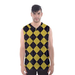 Square2 Black Marble & Yellow Leather Men s Basketball Tank Top