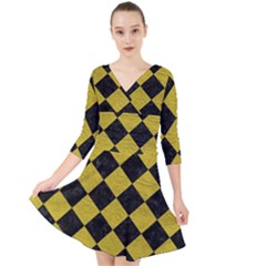 Square2 Black Marble & Yellow Leather Quarter Sleeve Front Wrap Dress