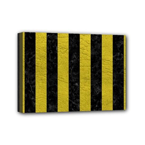 Stripes1 Black Marble & Yellow Leather Mini Canvas 7  X 5  by trendistuff
