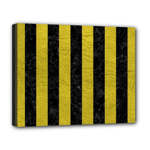 Stripes1 Black Marble & Yellow Leather Deluxe Canvas 20  X 16   by trendistuff