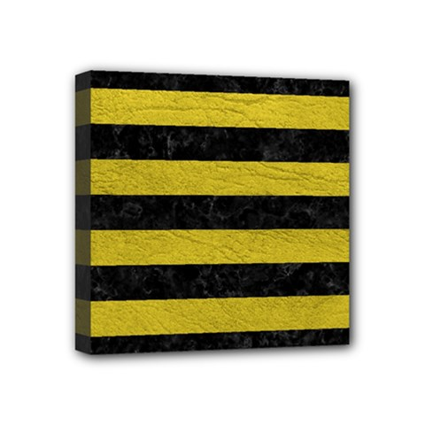 Stripes2 Black Marble & Yellow Leather Mini Canvas 4  X 4  by trendistuff