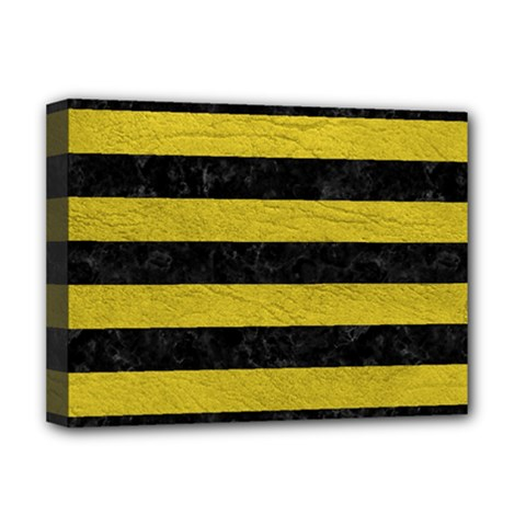 Stripes2 Black Marble & Yellow Leather Deluxe Canvas 16  X 12