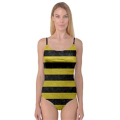 Stripes2 Black Marble & Yellow Leather Camisole Leotard