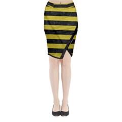 Stripes2 Black Marble & Yellow Leather Midi Wrap Pencil Skirt