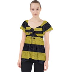 Stripes2 Black Marble & Yellow Leather Lace Front Dolly Top by trendistuff