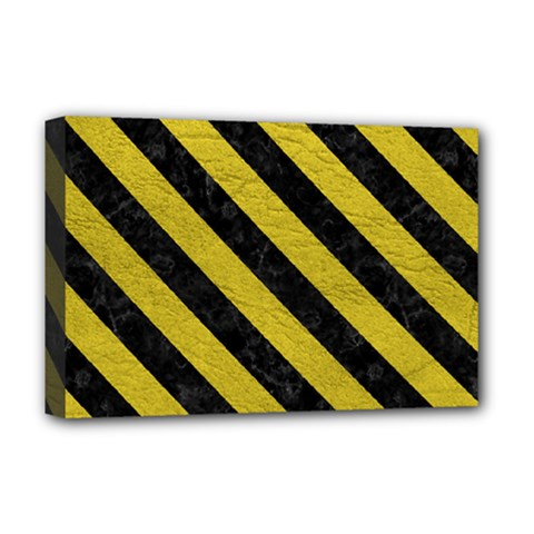 Stripes3 Black Marble & Yellow Leather Deluxe Canvas 18  X 12   by trendistuff