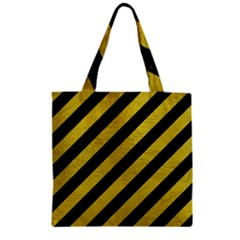 Stripes3 Black Marble & Yellow Leather (r) Zipper Grocery Tote Bag by trendistuff