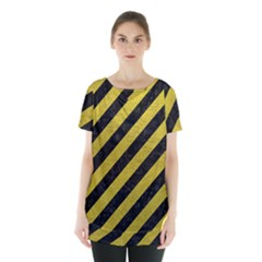 Stripes3 Black Marble & Yellow Leather (r) Skirt Hem Sports Top by trendistuff