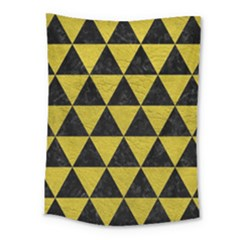 Triangle3 Black Marble & Yellow Leather Medium Tapestry by trendistuff