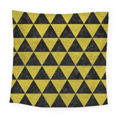 Triangle3 Black Marble & Yellow Leather Square Tapestry (large) by trendistuff